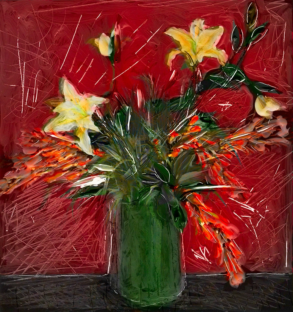 contemporary still life of flowers in a vase by gregory beylerian