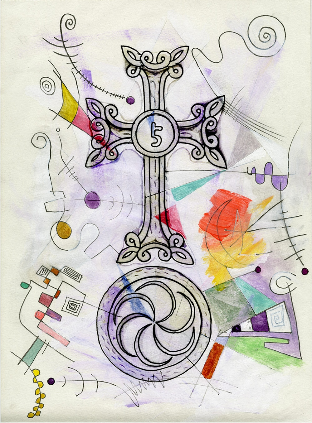Ascend together, a contemporary cross stone drawing by gregory beylerian