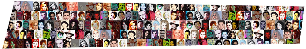 Portraits of celebrities on mural