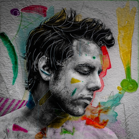 mixed media portrait by gregory Beylerian of Jesse macht