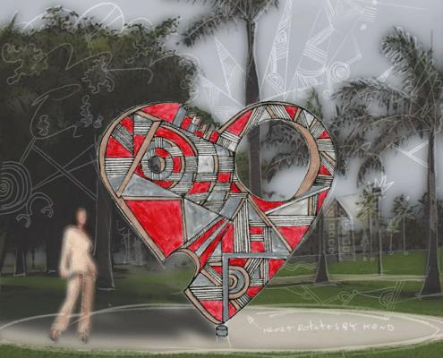 rotating outdoor heart sculpture
