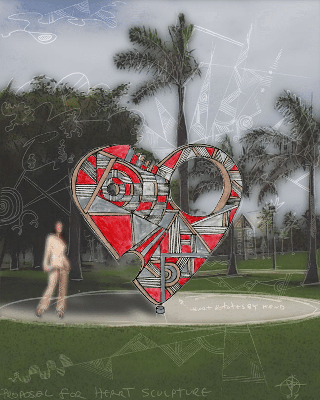 rotating outdoor heart sculpture