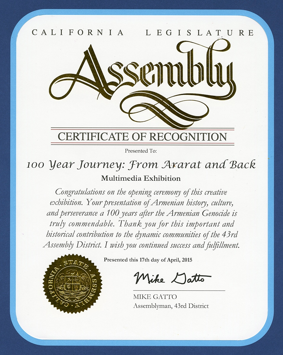 certificate_from_state_assembly_for_100_year_Journey