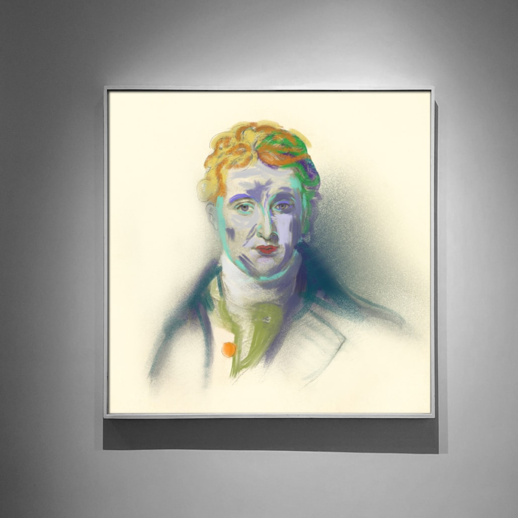 A contemporary art portrait of a revolutionary created using traditional and modern techniques.