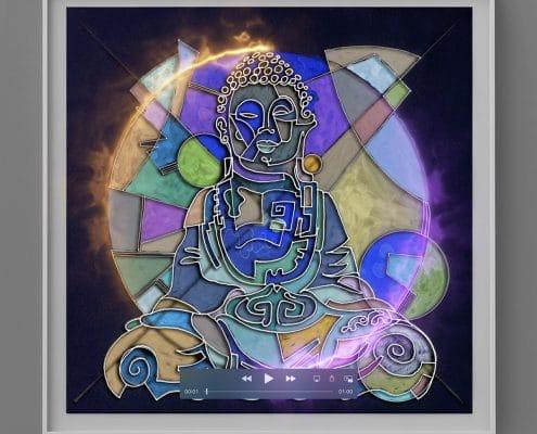 post contemporary art portrait of om buddha