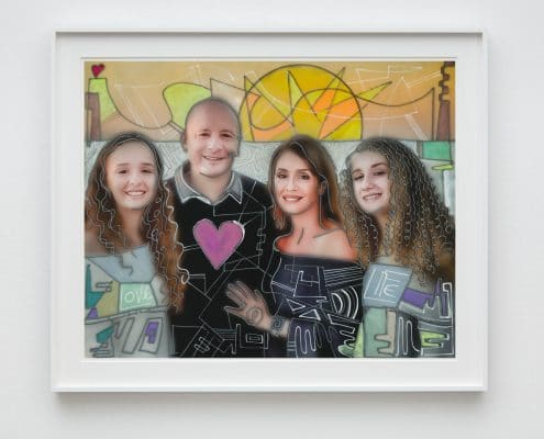 mixed media family portrait artwork