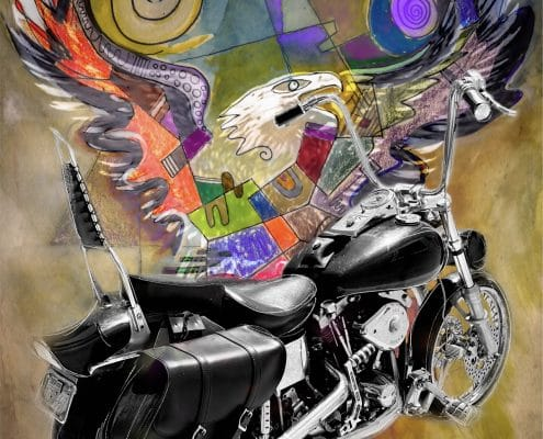 contemporary mixed media art harley davidson shovelhead by gregory beylerian