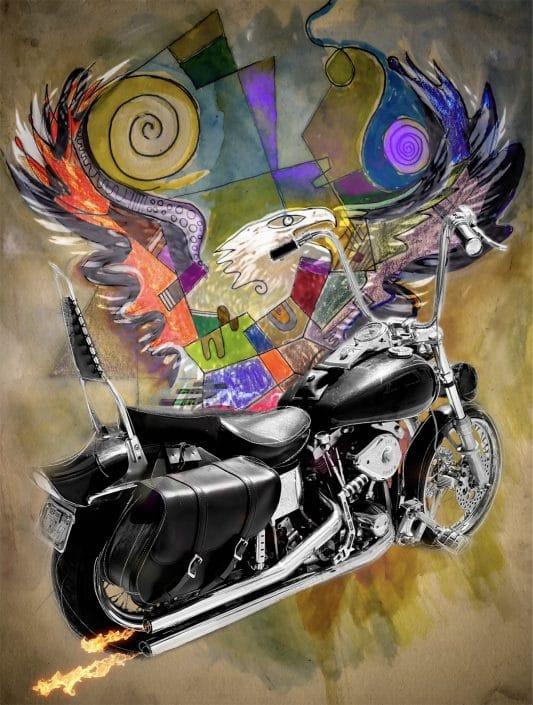 contemporary mixed media art harley davidson shovelhead by gregory beylerian