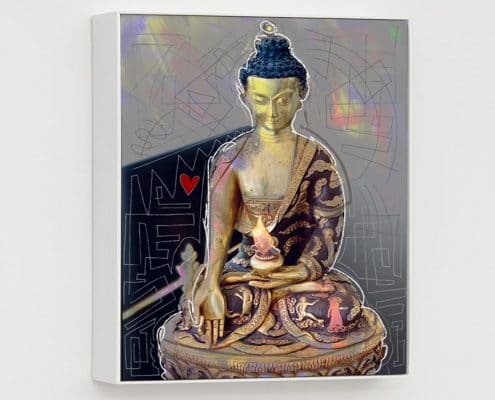 contemporary mixed media portrait of a buddha