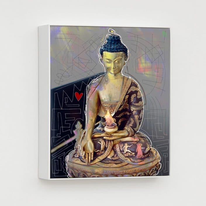 contemporary mixed media portrait of a buddha