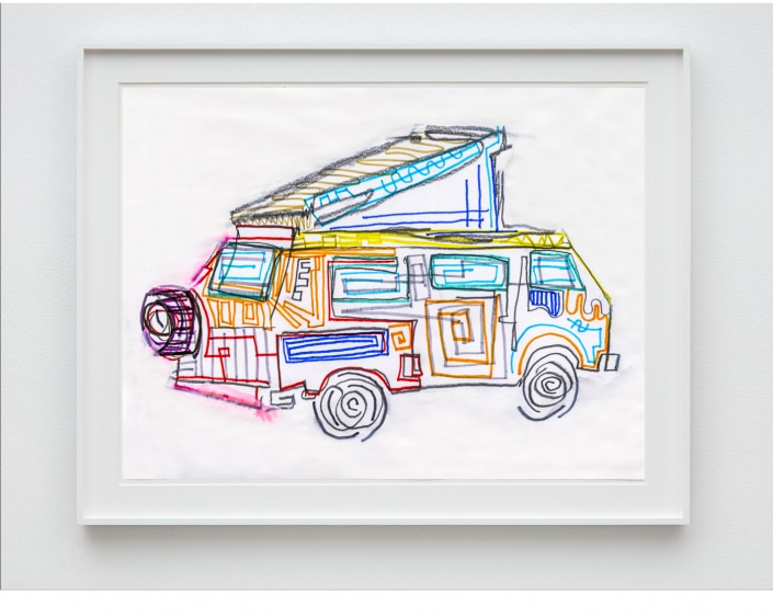 drawing of 1986 vw westy pop top camper