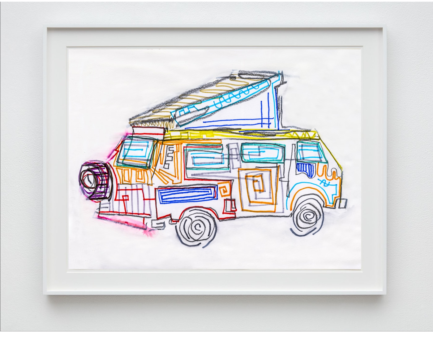 drawing of 1986 vw westy pop top camper